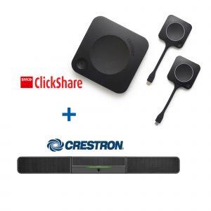 Videokonferenz Spar-Set I Crestron Soundbar mit Kamera I Barco ClickShare Collaboration Tool I AVsolutions